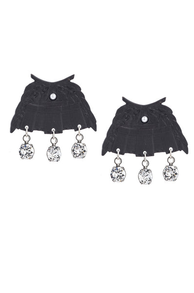 French Kande BLACK CHATEAU EARRINGS WITH SWAROVSKI DANGLES