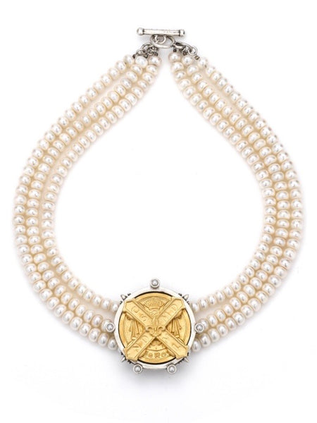 French Kande TRIPLE STRAND PEARL WITH GOLD CUVEE B MEDALLION