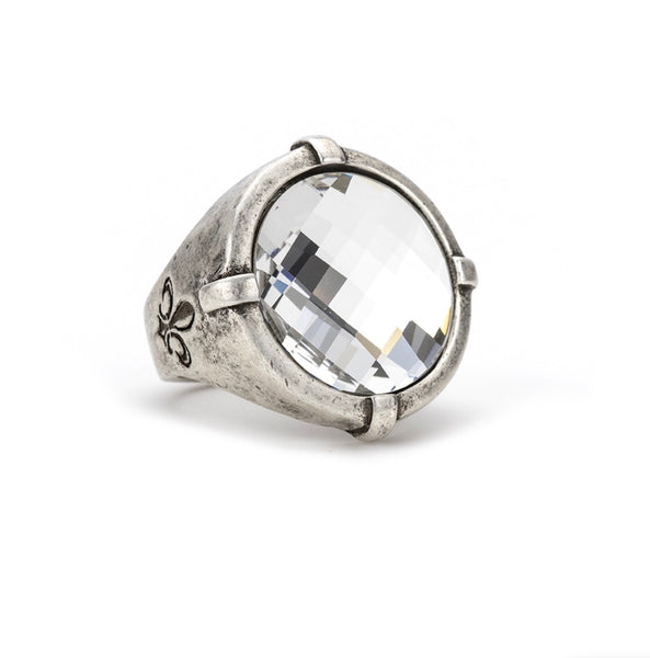 French Kande SILVER SIGNET RING WITH CRYSTAL SWAROVSKI CHESSBOARD