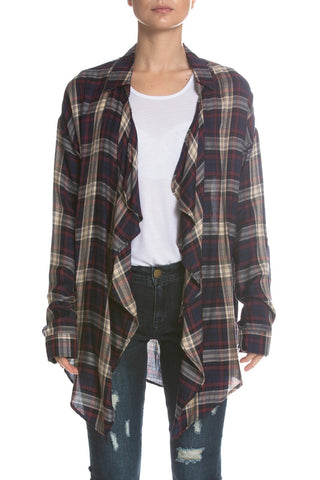Elan Open Front Plaid Top