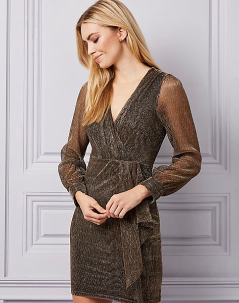 Le Chateau Metallic Wrap-Like Dress