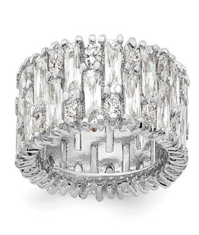 Cheryl M Rhodium Plated Fancy Multistone CZ Ring