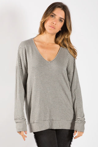 Elan Charcoal Stripe Top
