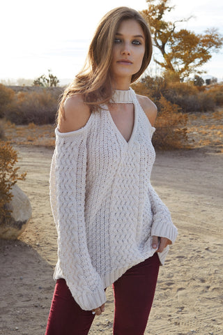Elan Cold Shoulder Cable Sweater