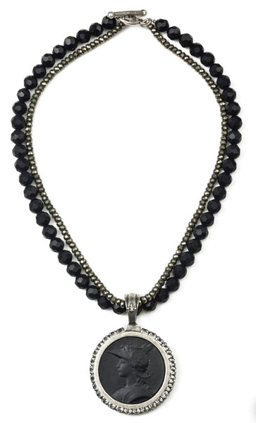 French Kande DOUBLE STRAND FACETED BLACK ONYX AND PYRITE WITH MINISTRY MEDALLION