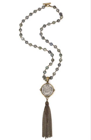 French Kande FACETED GREY LABRADORITE WITH BRASS WIRE, CUVEE ROYALE MEDALLION AND TASSEL