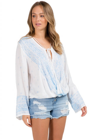 Elan Criss Cross Bell Sleeve Top
