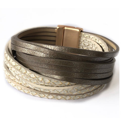 CRC Redefined Bronze and Ivory Multi Strand Leather Magnetic Bracelet