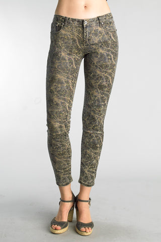 Tempo Paris - Abstract Print Leather Pants