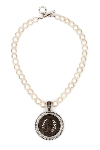 French Kande PEARLS WITH BLACK SWAROVSKI REX MEDALLION