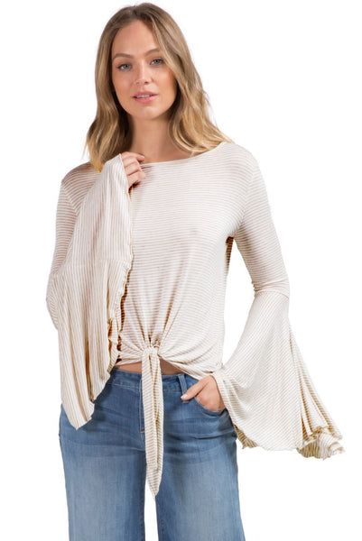 Elan Boat Neck Bell Sleeve Top