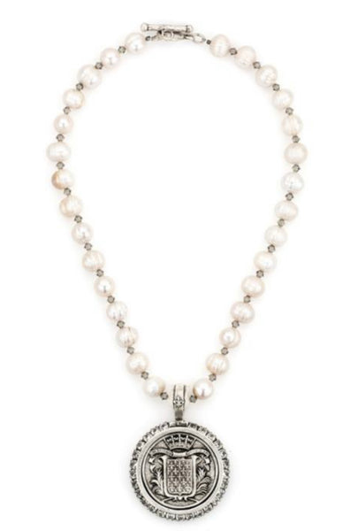 French Kande-PEARLS AND SWAROVSKI WITH MONT JOYE MEDALLION
