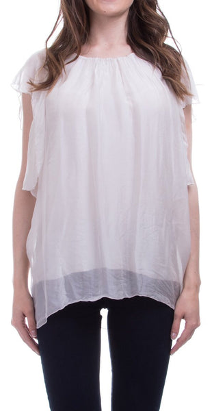 Gigi Moda Draped Petal Sleeve Silk Top