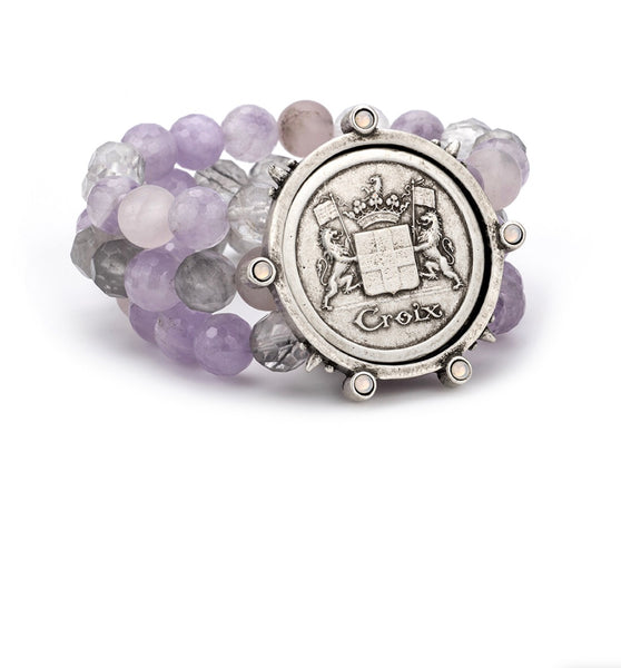 French Kande TRIPLE STRAND LAVENDER MIX WITH CROIX MEDALLION