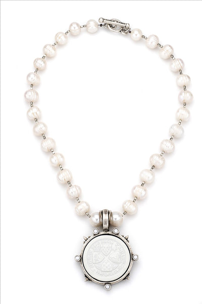 French Kande Pearls And Heishi With White Un Demi Medallion
