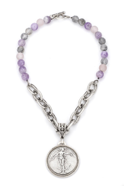 French Kande LAVENDER MIX WITH LOURDES CHAIN AND L'ANGE MEDALLION