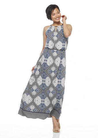 London Times Tan/Navy Maxi Dress