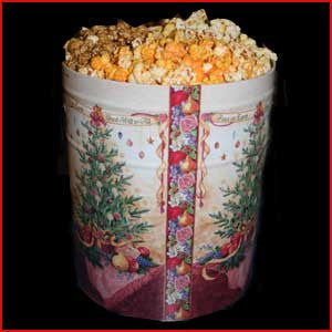 3.5 Gallon Tin of Salted Popcorn & Cheese Popcorn & Caramel Popcorn