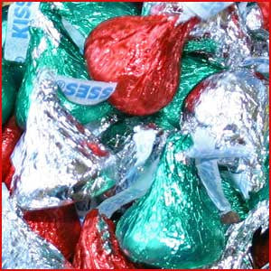 Hershey Kisses Red, Green & Silver Foiled