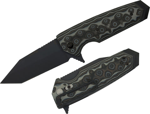 "Hogue EX-02 Flipper: 3.75"" Tanto Blade - Black Cerakote Finish, Black G-Mascus G10 Scales (34209)"