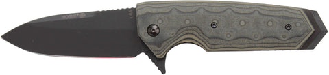 "Hogue EX-02 Flipper: 3.75"" Spear Point Blade - Black Cerakote Finish, Green G-Mascus G10 Scales (34218)"