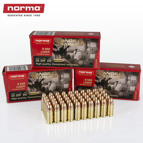 NORMA 9MM 115GR. FMJ -1000 ROUNDS