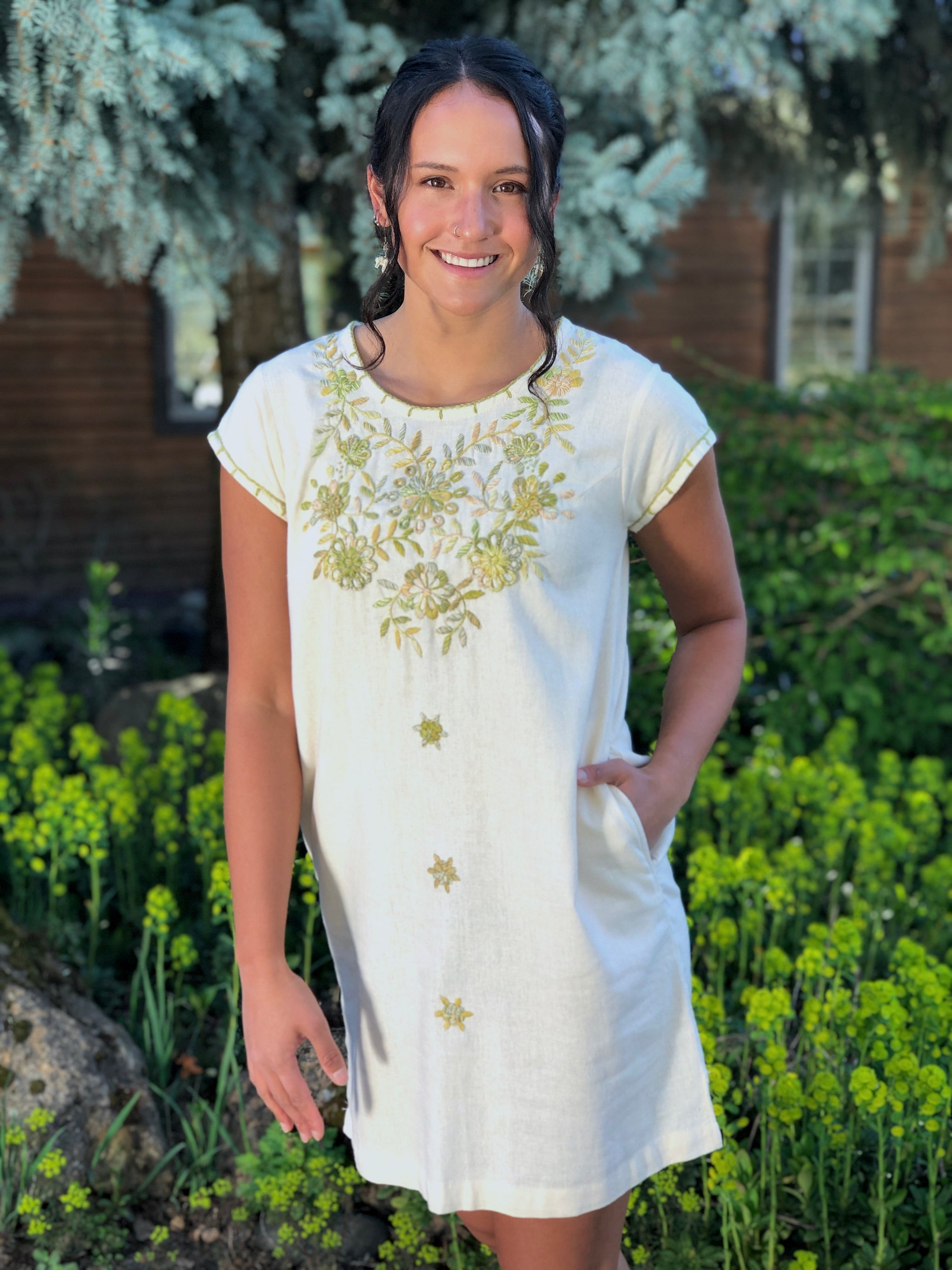 Embroidered shift tunic dress, Mexican embroidered dress, cream fair trade  tunic