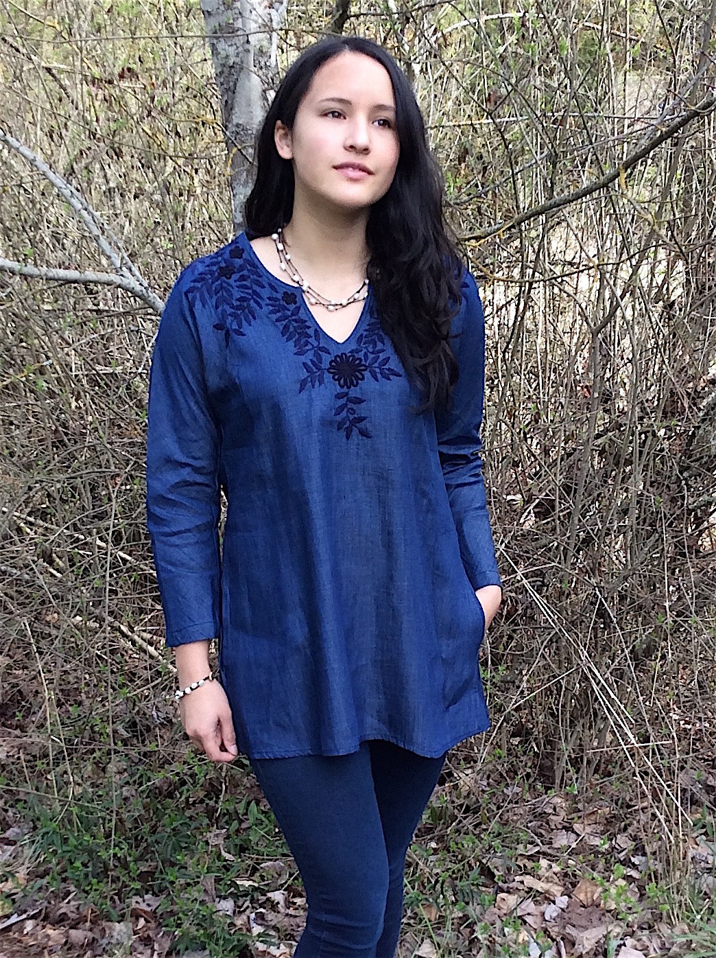 Lupe tunic - denim floral