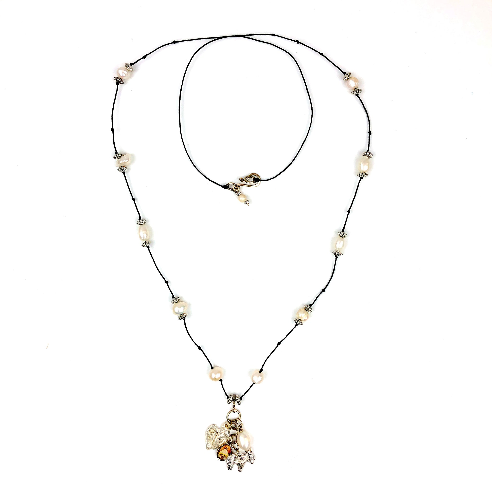 Juquila milagro pearl crystal long necklace