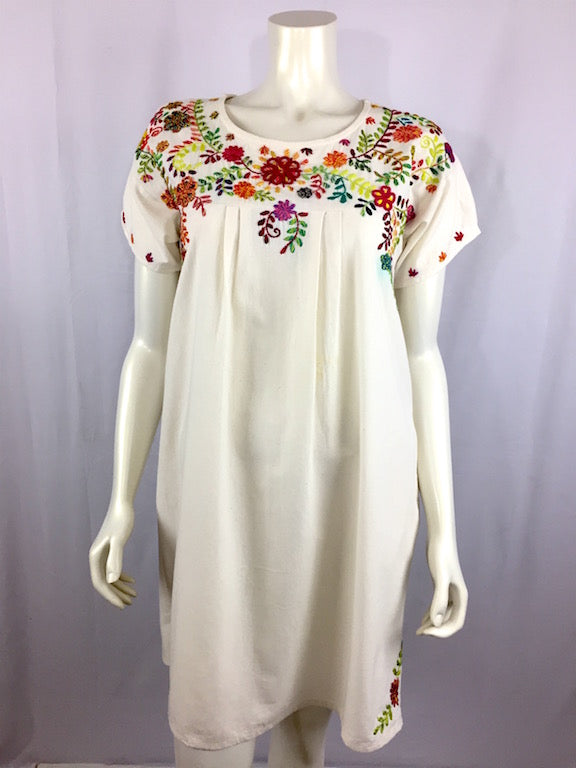 Marcela - ivory with multicolor embroidery