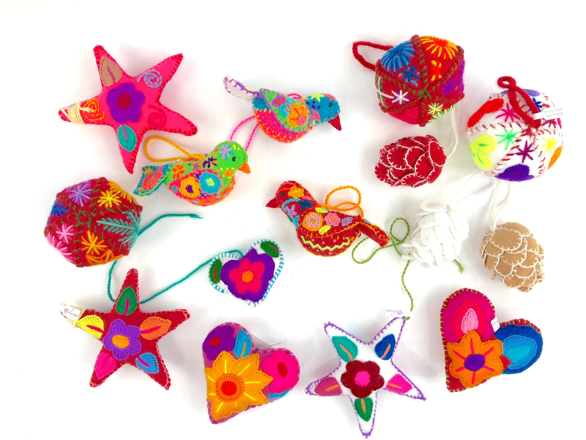 Embroidered felt ornament, embroidered ornaments, Mexican ornaments, embroidered heart, embroidered star