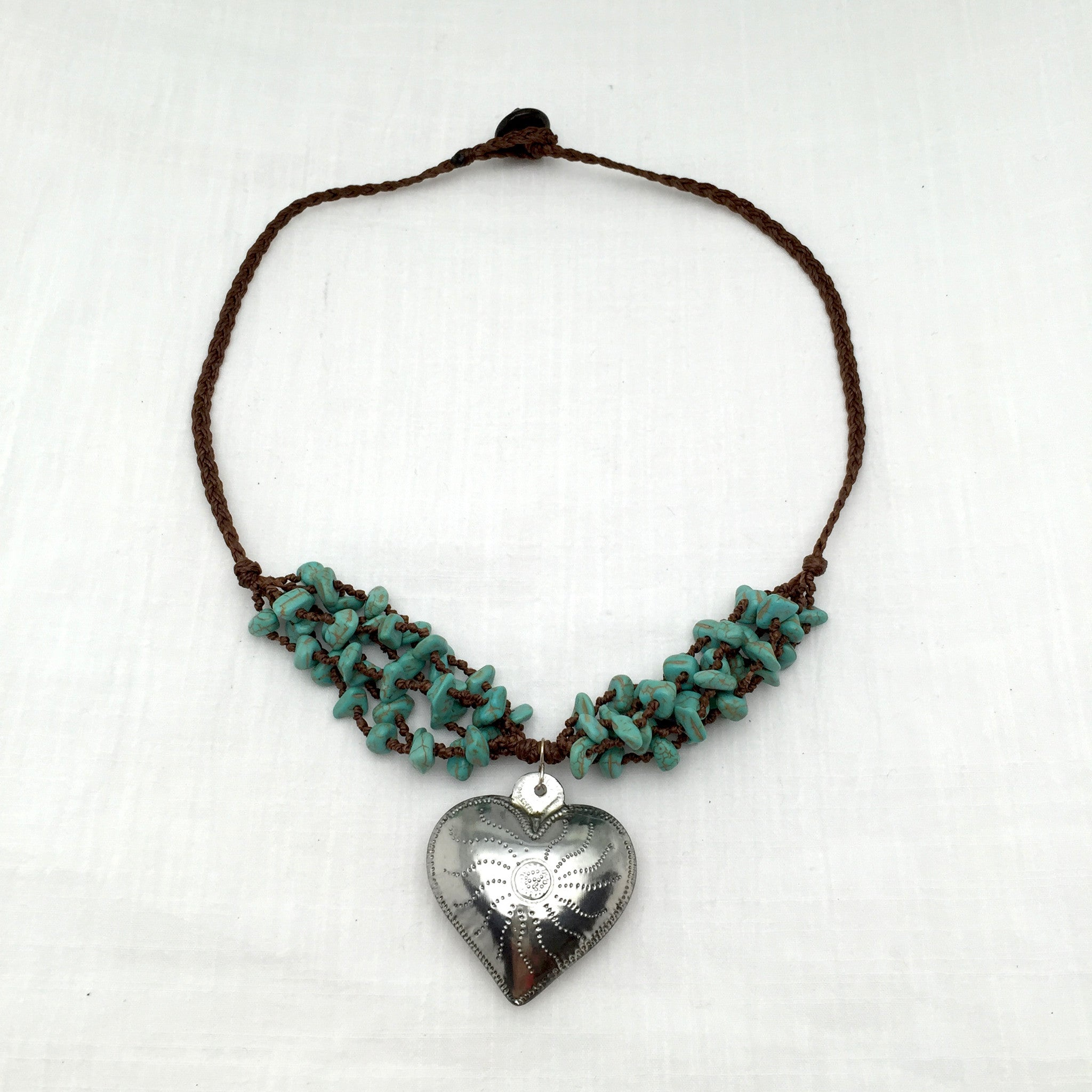 Amor turquoise tin necklace