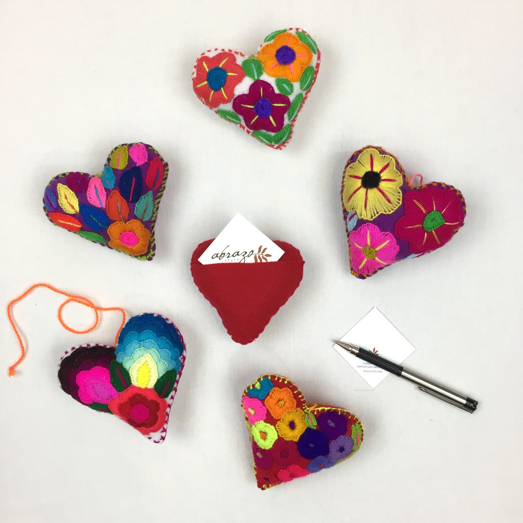 Embroidered Message Hearts (6pk)