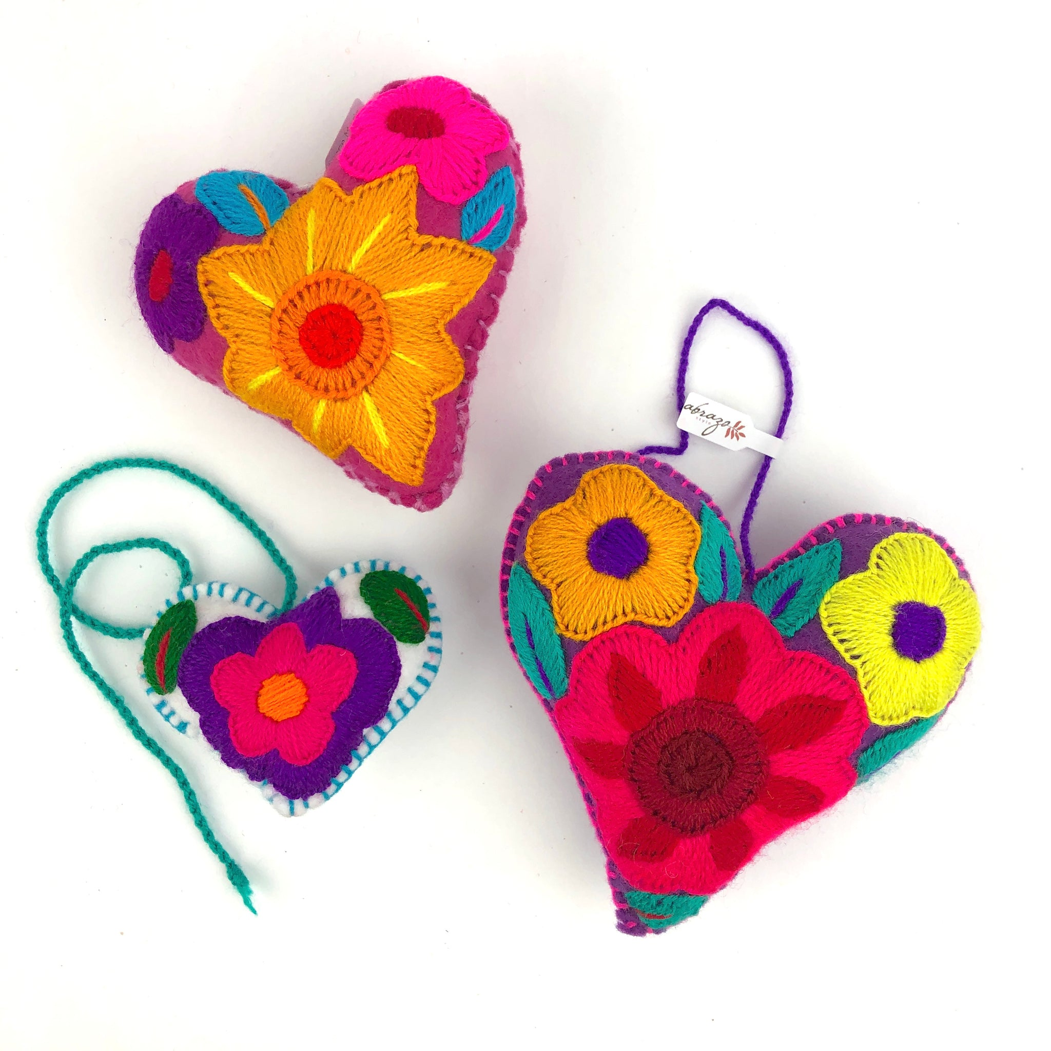 Embroidered heart, Mexican heart, felt heart, fair trade heart