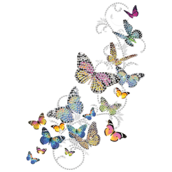 """BUTTERFLIES"" COMBO RH - RHINESTONE TRANSFER by AWD. <font face=""Times New Roman""><i> 18904HLR4 </i></font>"