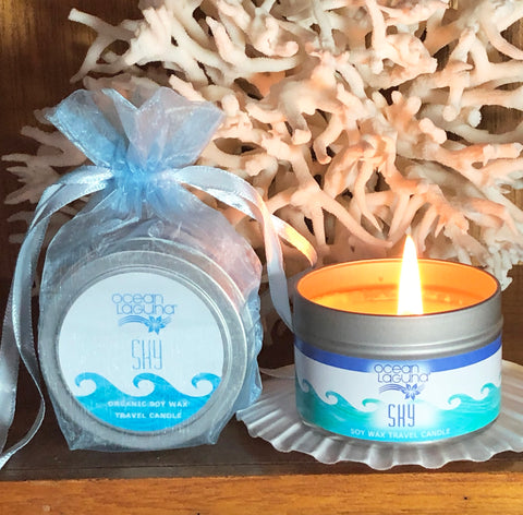 Ocean Laguna ~ SKY Pure Soy Travel Candle With Free Organza Gift Bag