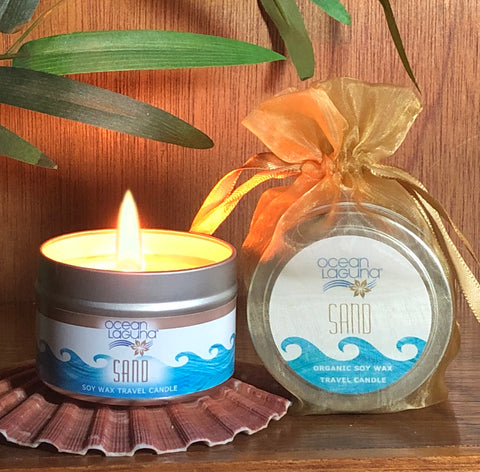 Ocean Laguna ~ SAND Pure Soy Travel Candle With Free Organza Gift Bag
