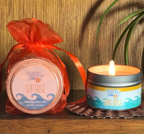 Ocean Laguna ~ SUNRISE Pure Soy Travel Candle With Free Organza Gift Bag