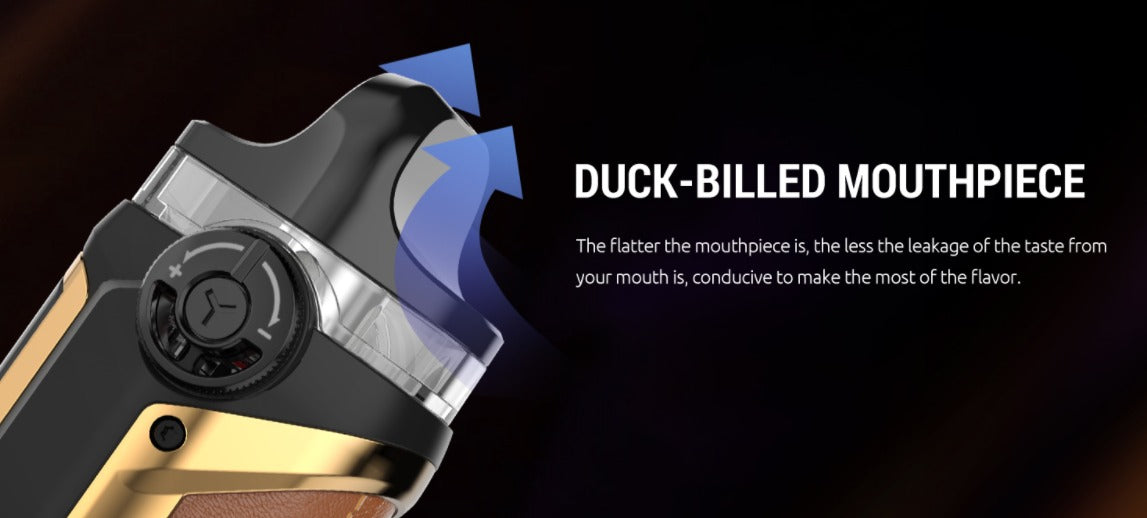 Flat mouthpiece to prevent leakage and e-liquid spilling.