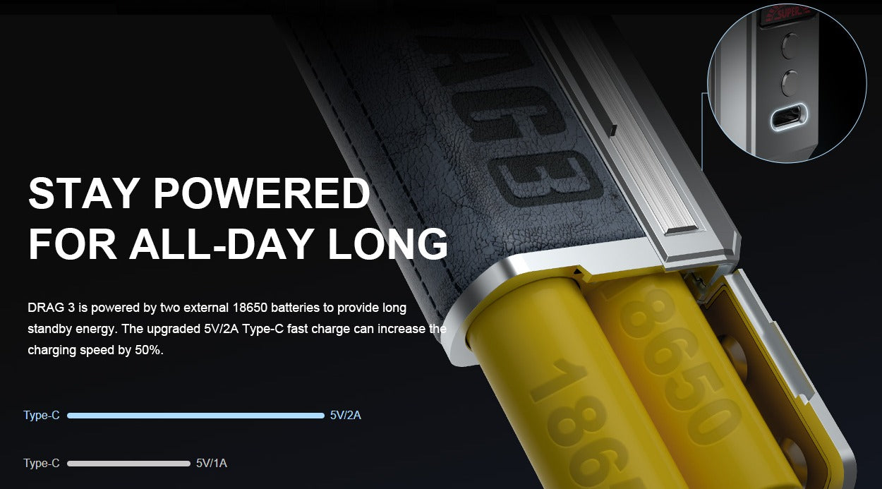 Powered by two 18650 batteries and charged with USB Type-C
