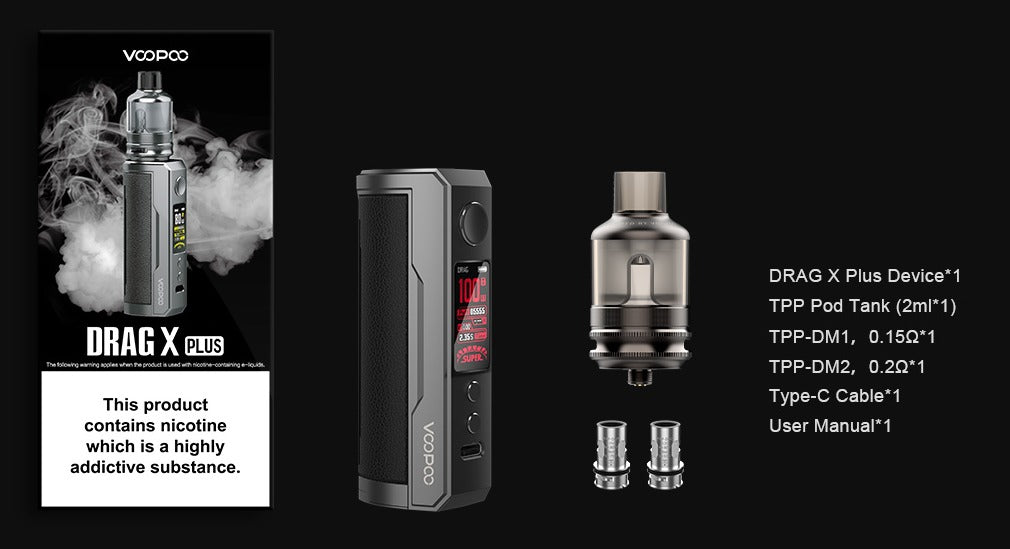 Package list. Drag X Plus device, tpp pod tank, tpp-dm1 & tpp-dm2 coil, USB type C cable and a user manual.