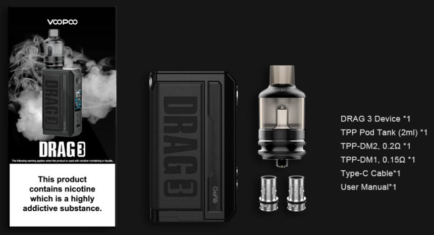 Package list. Drag 3 device, tpp pod tank, tpp-dm1 coil, tpp-dm2 coil, type-c cable and a manual.