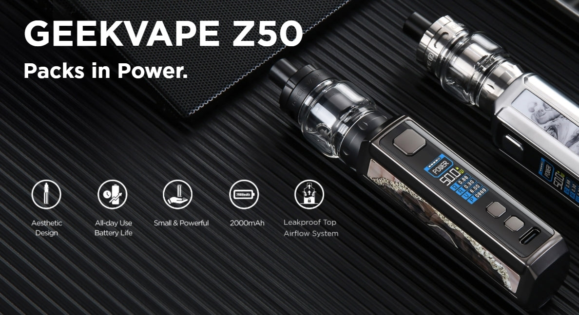 Geekvape Z50 Packs in Power. Featuring an aesthetic design, a large internal battery and the Geekvape Z Nano tank.