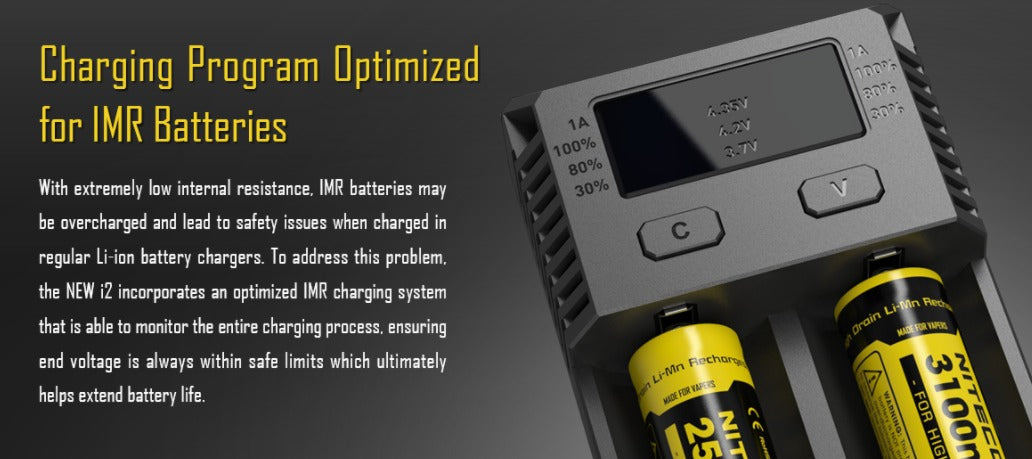 IMR charging system monitors charging and ensures the end voltage is always safe.