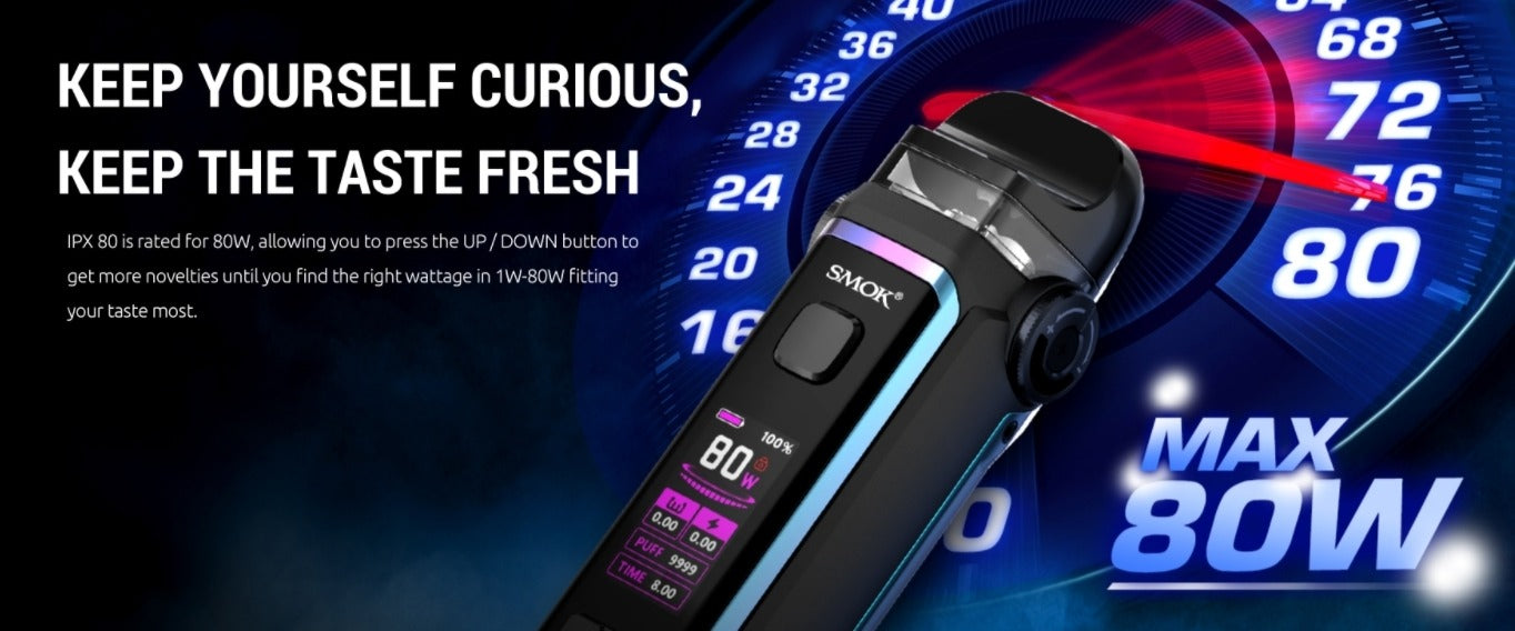 Min 1W. Max 80W. Adjust with up and down buttons.