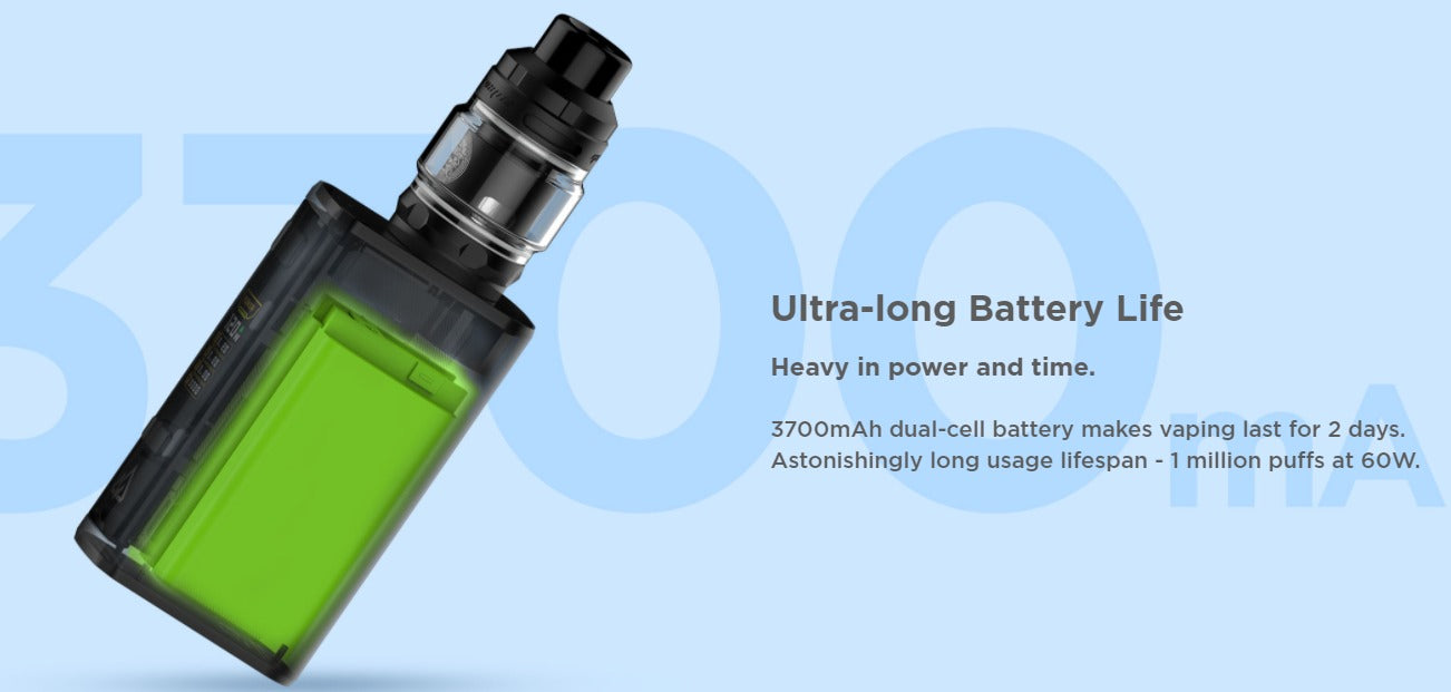 Battery can last 1 million puffs, running at 60 watts.