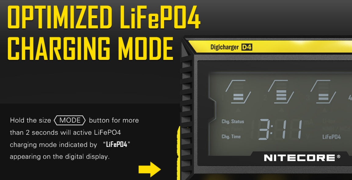 Press and hold the 'Mode' button to activate LiFePO4 charging mode.