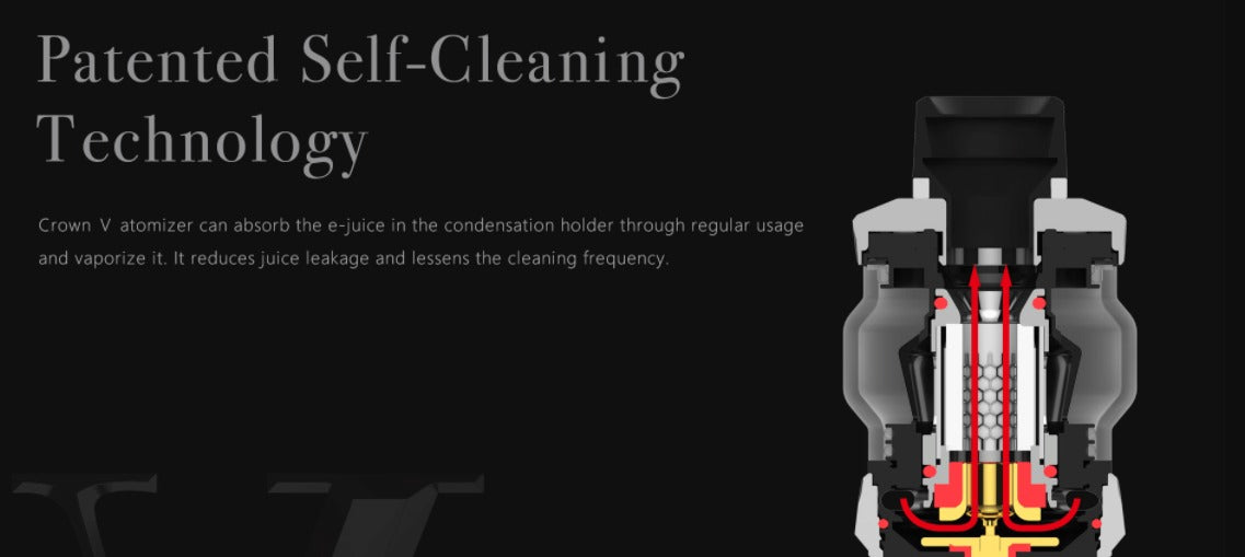 Absorbs e-liquid in the condensation holder and then vaporises it, preventing leaking.