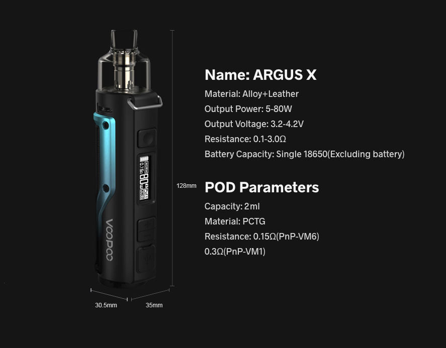 Argus X specification summary