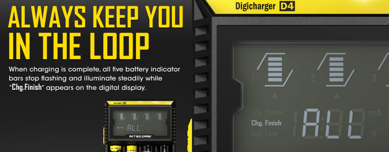 'Chg.Finish' will appear on the digital display when charging is complete.